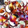 Acrylic Rivoli Flat Back Rhinestones 14mm Orange Aurora Borealis 200pcs/bag